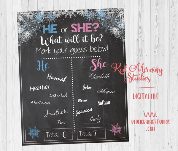 Winter Snowflake Gender Reveal Guess sign - PRINTABLE
