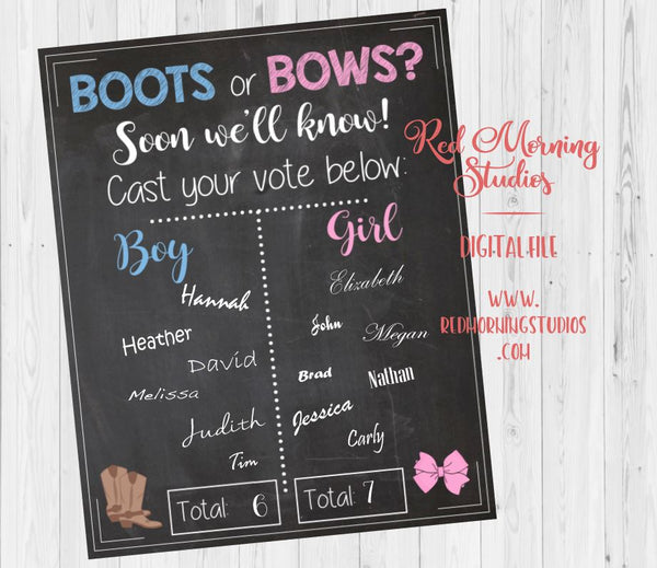 Boots or Bows Gender Reveal Guess sign - PRINTABLE