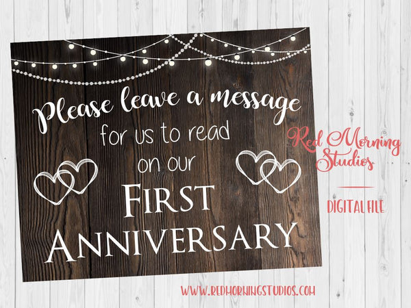 Leave a message sign. rustic wedding sign. PRINTABLE. First Anniversary poster. 1st anniversary note sign. digital instant download