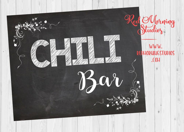 Chili Bar sign. PRINTABLE. wedding chili sign. chalkboard. warm up at the chili bar. party digital instant download. chili buffet table