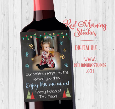 Teacher Wine label christmas gift. PRINTABLE. our child might be the reason you drink. daycare teacher holiday present. caretaker gift.