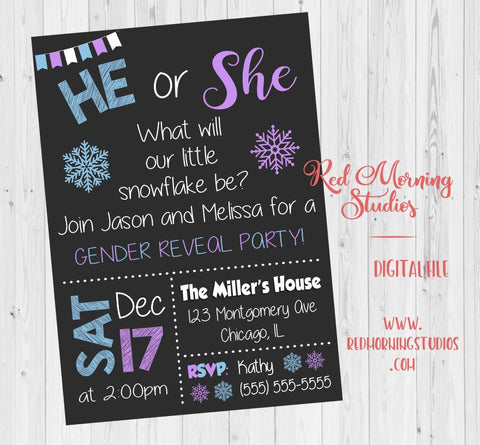 Winter Gender Reveal Invitation. PRINTABLE. snowflake gender reveal invitation. winter baby shower. invite digital. snow