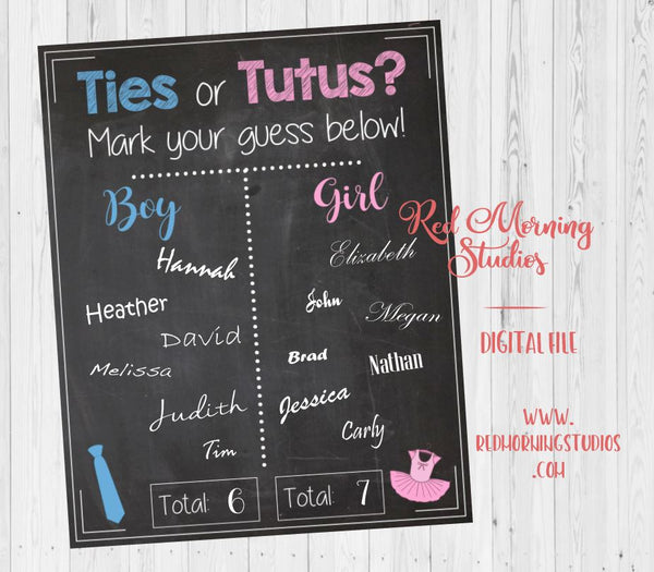 Ties or Tutus Gender Reveal Guess sign - PRINTABLE