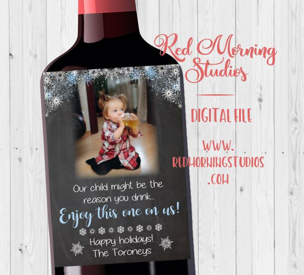 Teacher Wine label gift. PRINTABLE. christmas gift. our child might be the reason you drink. nanny babysitter holiday present.