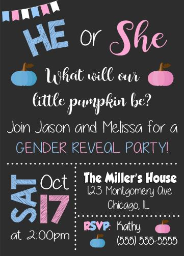 Fall Gender Reveal Invitation. PRINTABLE. Pumpkin gender reveal invitation. fall pumpkin baby shower. invite digital