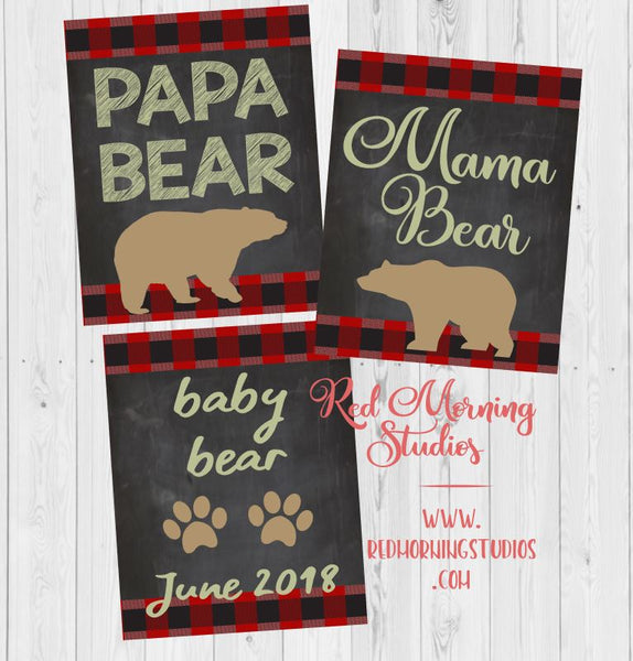 Mama Bear Pregnancy Announcement sign with dad. PRINTABLE. papa bear pregnancy reveal. family pregnancy reveal signs. baby bear poster