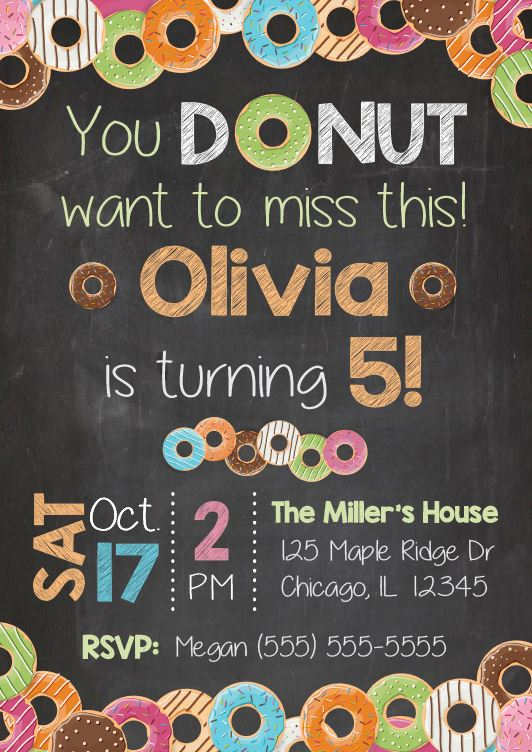 Donut Birthday Party Invitation. PRINTABLE. doughnut 1st birthday invitation. donut first birthday invitation. doughnut party invitation