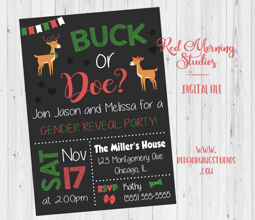 Christmas Gender Reveal Ideas.Reindeer Christmas Gender Reveal Party Invitation Printable
