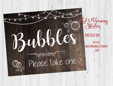 Bubbles Favors sign. PRINTABLE rustic wedding favor sign. alternative favors. rustic favors. digital instant download bubble favor