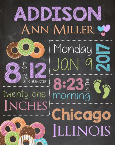 Donut Nursery Art Print. Doughnut Birth Announcement Sign. PRINTABLE new baby gift. DIGITAL donut birth stats chalkboard poster custom