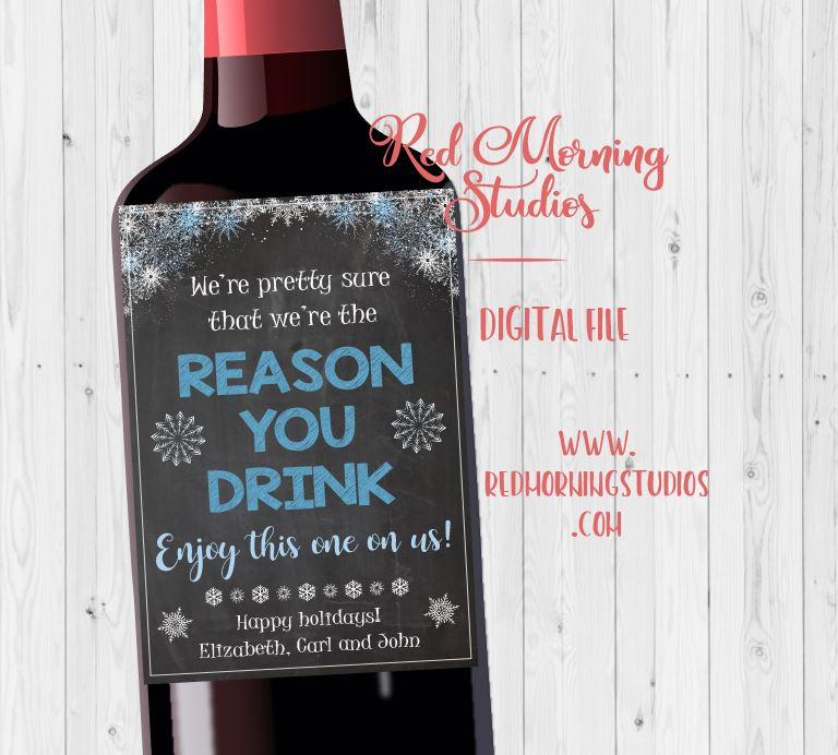 Boss or Coworker wine label christmas gift. PRINTABLE – Red Morning ...