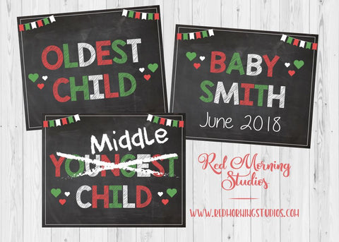 Baby #3 Christmas Pregnancy Announcement. PRINTABLE. Siblings Holiday Reveal. New Baby oldest middle youngest big brother sister 3 three