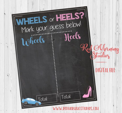 Wheels or Heels Gender Reveal Guess sign PRINTABLE baby shower chalkboard poster boy or girl