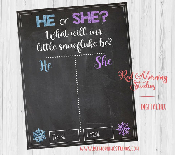 Winter Gender Reveal Guess sign. PRINTABLE. snowflake baby shower chalkboard. he or she. snow. poster boy or girl. christmas