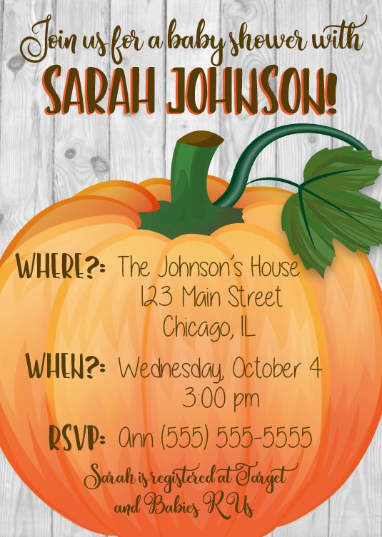 Pumpkin Patch Baby Shower Invitation. PRINTABLE pumpkin fall baby shower invite. halloween baby shower. autumn shower invitation