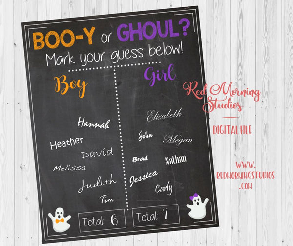 Halloween Gender Reveal Guess sign, Boo-y or Ghoul - PRINTABLE