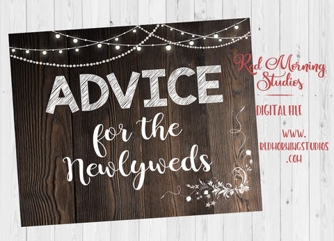 Advice for the Newlyweds sign. rustic Wedding PRINTABLE digital instant download. bride and groom guestbook. rustic alternative guestbook