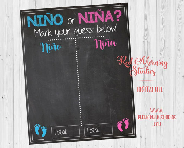 Fiesta Gender Reveal Guess sign. PRINTABLE. nino or nina gender reveal. spanish. mexican. baby shower chalkboard poster boy or girl
