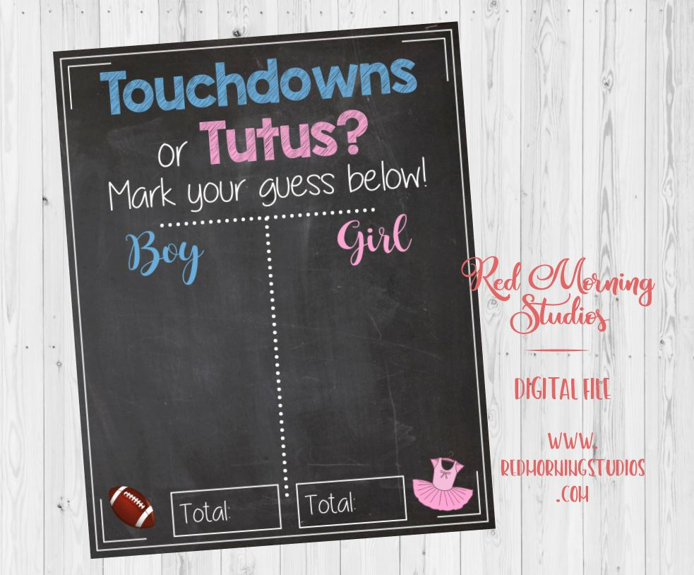 Touchdowns or tutus Gender Reveal Guess sign baby shower chalkboard PRINTABLE poster boy or girl