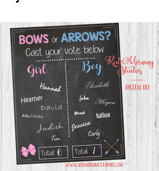 Bows or Arrows Gender Reveal Guess sign - PRINTABLE