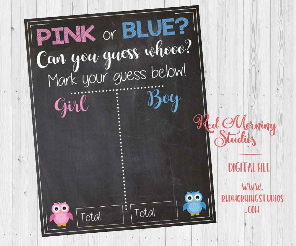 Pink or Blue? Can You Guess Whooo? owl Gender Reveal Guess sign - PRINTABLE