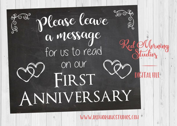 Leave a message sign. chalkboard wedding sign. PRINTABLE. First Anniversary poster. 1st anniversary note sign. digital instant download