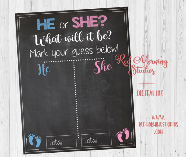 He or She Gender Reveal Guess sign. PRINTABLE baby shower chalkboard poster boy or girl