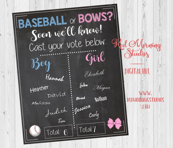 Baseball or Bows Gender Reveal Guess sign - PRINTABLE