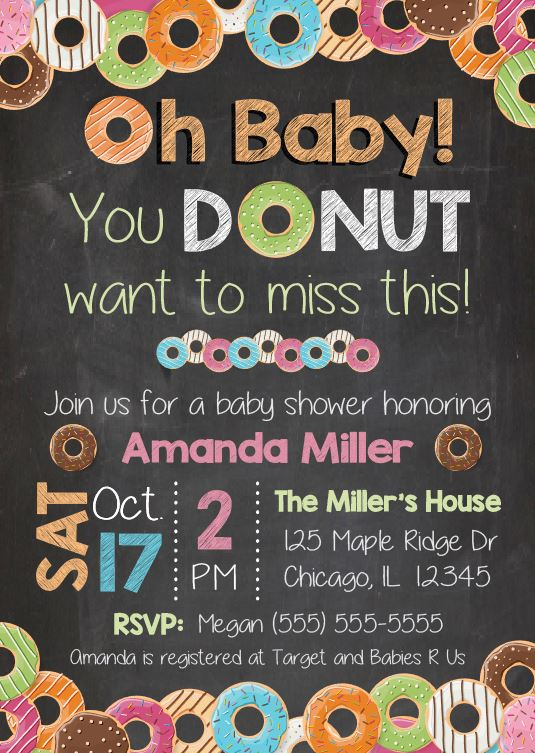 donut baby shower invitation  printable  u2013 red morning studios