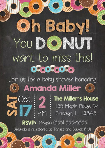 Donut Baby Shower Invitation. PRINTABLE doughnut baby shower invitation. donut baby shower. donut gender reveal. doughnut couples shower