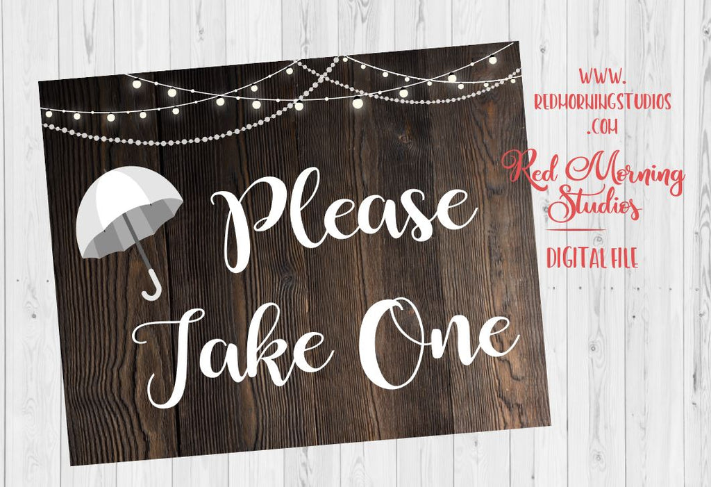 Umbrella Rustic Wedding Favor Sign Printable Red Morning Studios