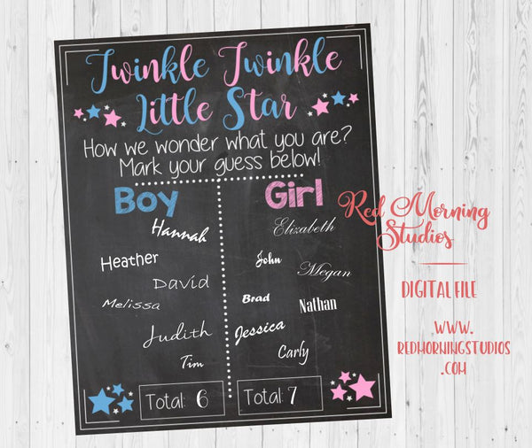 Twinkle Twinkle Little Star How We Wonder What You Are - Gender Reveal Guess sign - PRINTABLE