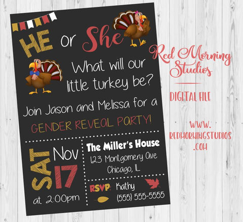 Thanksgiving Gender Reveal Invitation. PRINTABLE. little turkey gender reveal invitation. turkey baby shower. invite digital. autumn