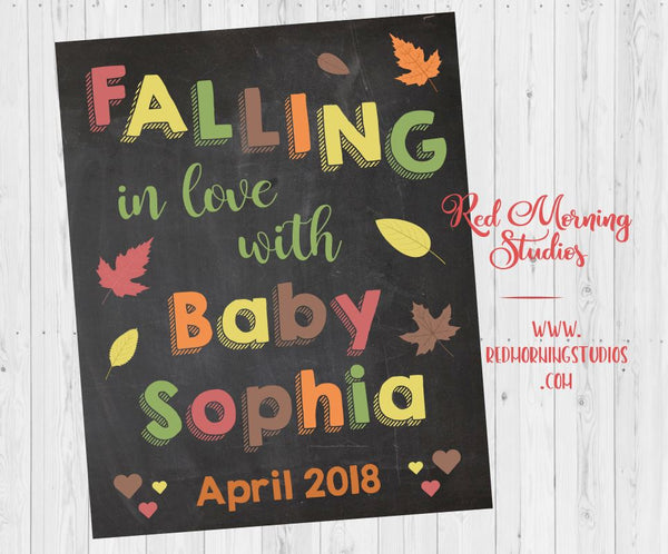 Fall Baby Shower Decorations. Autumn New Baby Announcement. autumn leaves baby shower sign. decor. fall pregnancy reveal. falling in love