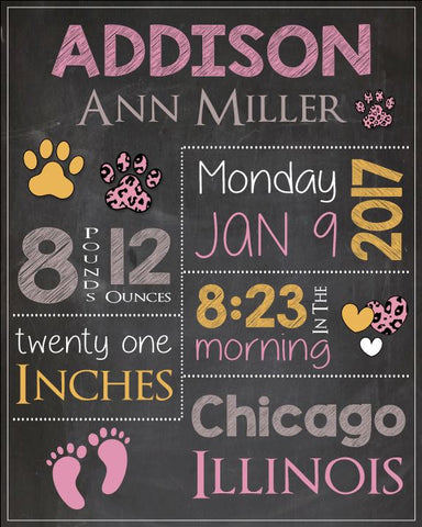 Pink Cheetah Nursery Art Print. Pink Cheetah Birth Announcement Sign. PRINTABLE new baby gift. Pink Cheetah birth stats poster custom