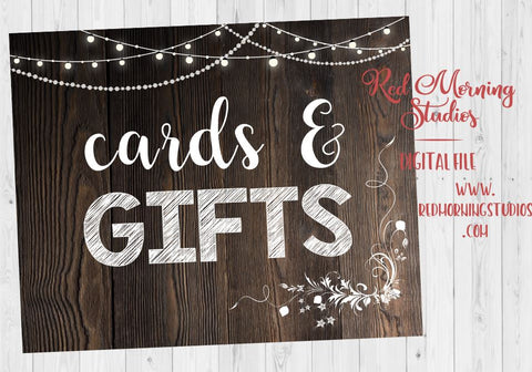 Cards and Gifts rustic Wedding sign PRINTABLE