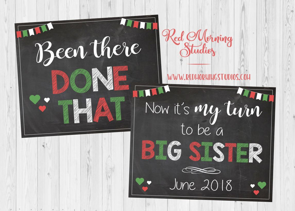 Baby #3 Christmas Pregnancy Announcement. PRINTABLE. Been There Done That. red green. New Baby Siblings big sister three my turn