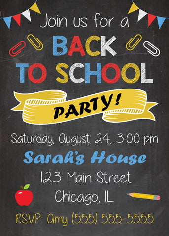 Back to School Party Invitation. PRINTABLE back to school invitation. end of summer invite. first day of school party invitation. new year