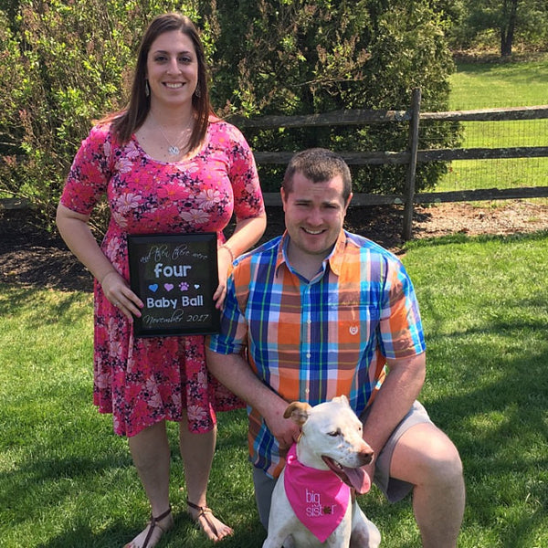 Pregnancy Announcement sign with dog or pet