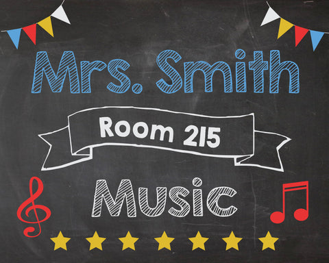 Music Teacher Classroom Door Sign. PRINTABLE. Music Teacher name room number sign. Music Teacher Classroom Decor Decorations. poster