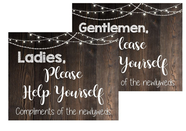 Bathroom Basket signs. PRINTABLE Wedding Bathroom Signs. rustic wedding sign. ladies gentlemen help yourself compliments of the newlyweds