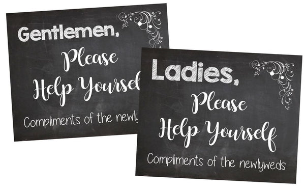 Ladies Bathroom Basket signs. PRINTABLE Wedding Bathroom Signs. chalkboard wedding sign. ladies help yourself compliments of the newlyweds.