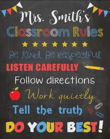 Teacher Classroom Rules Sign. PRINTABLE. Teacher classroom decor decorations. custom teacher name rules. back to school. elementary