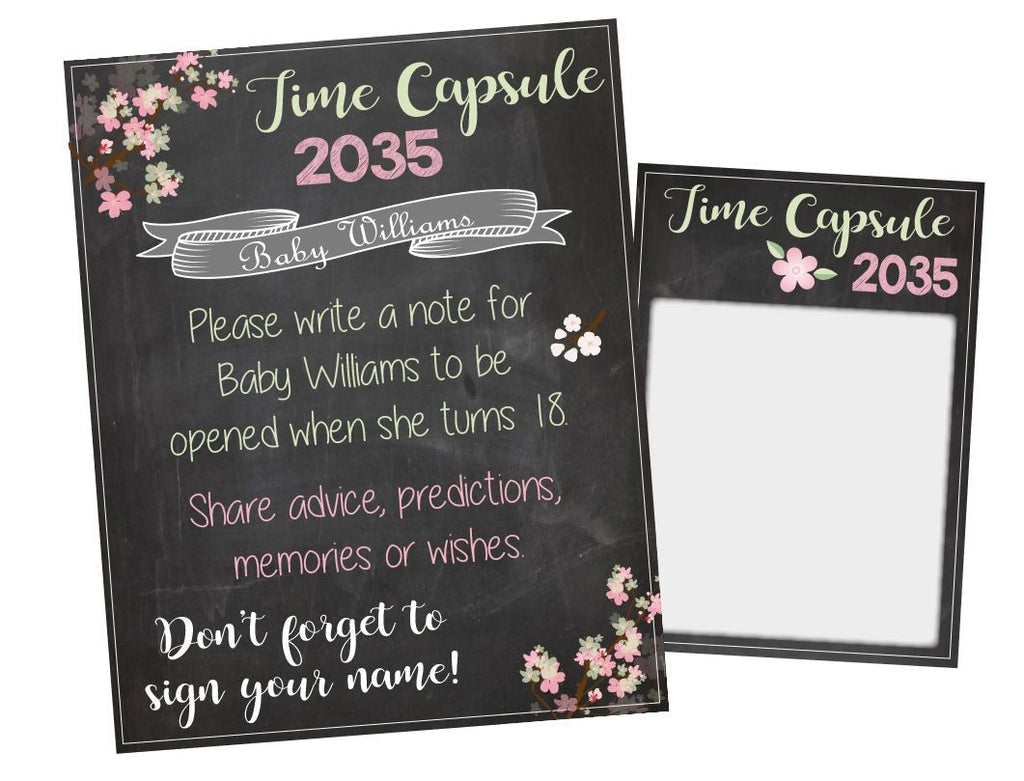 Baby Shower Time Capsule. PRINTABLE. baby girl time capsule. Baby Shower activity game. girl baby shower decorations. floral garden party