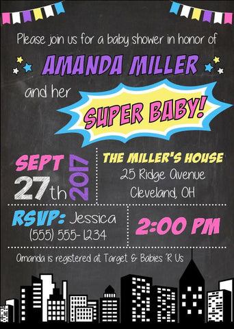 Superhero Girl Baby Shower Invitation. PRINTABLE girl superhero baby shower invite. girl superhero party pink. super baby