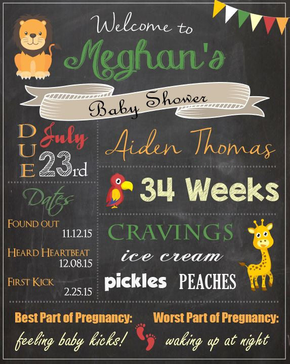 Safari Baby Shower Welcome Sign. PRINTABLE animal baby shower chalkboard sign. DIGITAL jungle baby shower decorations game. safari.