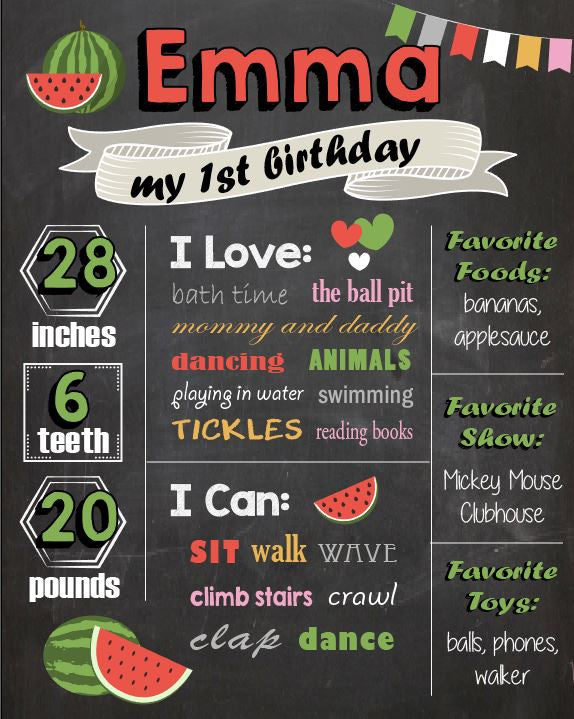 9172508af Watermelon Birthday Chalkboard sign. Watermelon 1st birthday party. Watermelon  first birthday party decorations.