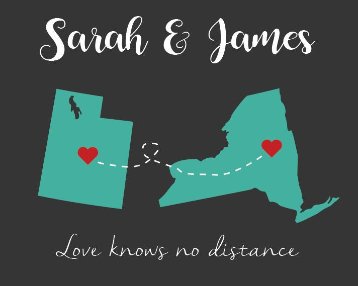 Long Distance valentines day gift PRINTABLE love map art print boyfriend  different states deployment love knows no distance