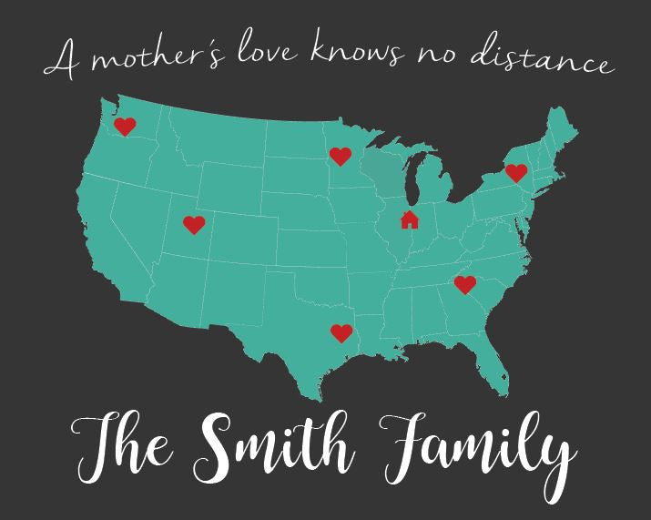 Mother's Day map print gift. PRINTABLE long distance family gift for mom. out of state Mother map art sign. knows no distance. from children