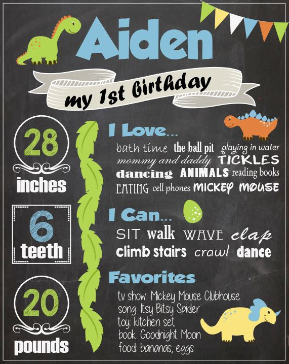 Dinosaur First Birthday Chalkboard sign. PRINTABLE dinosaur 1st birthday party decorations. poster. photo prop.